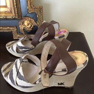 Michael Kors zebra wedges sandals 8.5